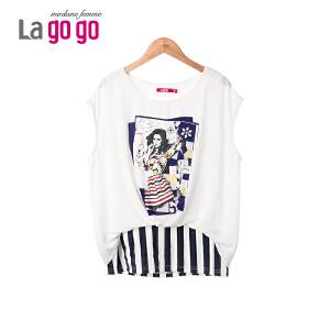 Lagogo/拉谷谷2015韩版夏季t恤印花海军条纹直筒上衣