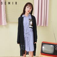 森马针织衫女2018春季新款蕾丝拼接毛衣开衫黑色显瘦宽松外套潮