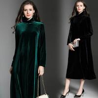 欧美秋冬新款时尚高端金丝绒大摆长裙大码女装长袖宽松高领连衣裙