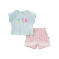 戴维贝拉夏装新款女童短袖套装宝宝两件套DBF7096