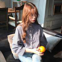 春装女装韩版chic百搭复古文艺格子衬衣宽松长袖衬衫防晒上衣学生