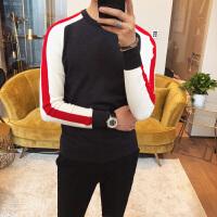 2018春装男士圆领毛衣青年韩版修身撞色针织衫S码发型师潮男毛衫