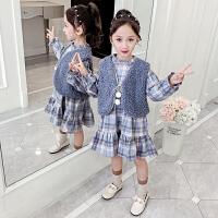 童装2019秋季新款女童马甲格子套装儿童马甲上衣+连衣裙两件套