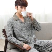 睡衣男士纯棉长袖春秋季全棉男式大码薄款中年爸爸夏季男款家居服