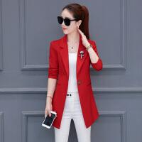小外套女2017新款秋装韩版修身显瘦西装大码长袖中长款纯色西服潮