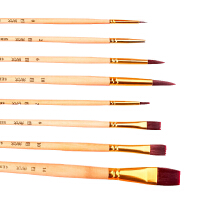 8支水粉画笔套装水彩画笔排笔美术生专用平头尼龙圆头色彩丙烯油画颜料笔毛笔初学者学生写生的 通用(水粉,水彩,油画)套装