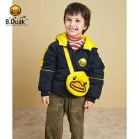 B.duck小黄鸭童装儿童羽绒服2021冬季新款男童挎包上衣洋气女童保暖外套BF5116903