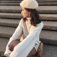 秋冬新款山羊绒衫女韩版慵懒风高领毛衣加厚中长款宽松针织打底衫