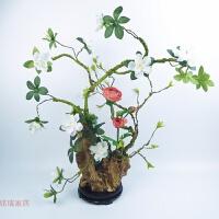 中式花艺整体套装绢花杜鹃花禅意摆件仿真花假花精品办公室 白色