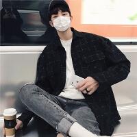 2018春季新款时尚格子长袖青年衬衫韩版小清新男士长袖衬衣宽松潮
