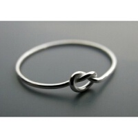 韩版999银戒指女 个性打结原创手工情侣戒指足银创意agete风格 拍时注明号数