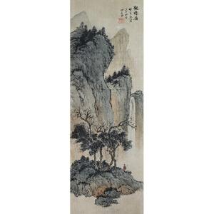 溥儒 现代国画大师、与张大千并称南张北溥 山水《观瀑图》老裝老裱