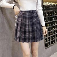 毛呢百褶裙女高腰A字短裙学院风学生2018春秋新款韩版格子半身裙