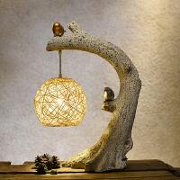 中式台灯装饰客厅书房卧室床头灯温馨复古艺术禅意小鸟台灯