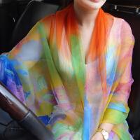 新款夏季女长款冰丝雪纺丝巾海边防晒沙滩巾空调披肩百搭围巾