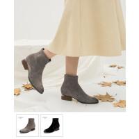青婉田冬靴女2018新款瘦瘦靴磨砂尖头短靴女粗跟袜子靴弹力靴女靴