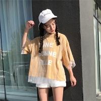 带网纱的短袖t恤女学生韩版原宿风假两件打底衫上衣夏天衣服显瘦