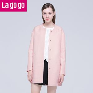 Lagogo/拉谷谷春季新款纯色直筒长袖中长款外套