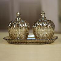 现代玻璃糖果储物罐干果盒 家居装饰品摆件欧式样板间摆设工艺品 糖果罐一套