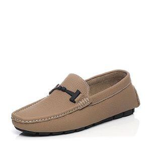 Belle/百丽2017夏季专柜同款灰色牛皮懒人鞋男休闲鞋4VE01BM7
