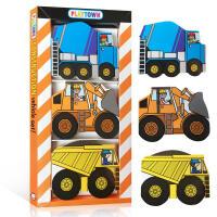 英文原版绘本 Playtown Chunky Pack: Construction水泥搅拌机 挖掘机和倾卸卡车 玩具书