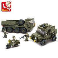 小鲁班拼装积木兼容乐高组装玩具男孩玩具军事系列坦克车生日礼物 儿童节礼物