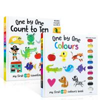 英文原版 My first sliders one by one colours / count to ten 颜色数字启蒙认知操作机关书精装书2册套装 提高宝宝动手能力与逻辑 0-3-6岁