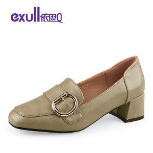 依思Q春季新款复古皮带扣方头套脚粗跟中跟单鞋女鞋