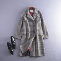 2018【C3/1.6斤】FSLL21秋冬格子条纹双排扣毛呢外套Z