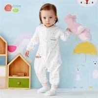 贝贝怡新生婴儿儿衣服秋季新款连体衣纯棉保暖前开哈衣爬服193L265