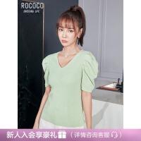 洛可可/ROCOCO2021春v领纯色套头OL风泡泡袖修身显瘦上衣针织衫女