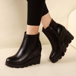 真皮短靴女加绒保暖单靴冬季新款春坡跟内增高真皮高跟防水台单鞋尖头厚底深口女鞋子