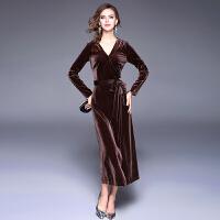 秋冬季打底天鹅绒丝绒裹身裙长袖V领气质连衣裙复古长裙长款