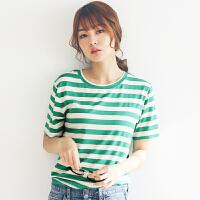 夏季新装女士T恤棉质圆领短袖简约条纹小衫宽松大码显瘦韩版潮流