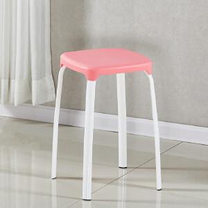 门扉 凳子 加厚塑料板凳 快餐桌饭店方凳椅子 家用客厅叠放换鞋凳子时尚简易