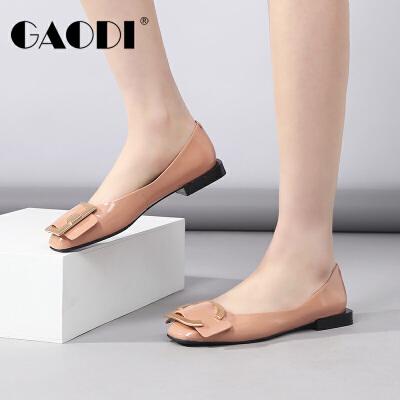 高蒂女鞋2018春季新款方头休闲浅口鞋子女粗低跟方扣平底漆皮单鞋