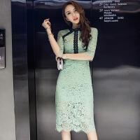 刘诗诗机场明星同款连衣裙秋装a型蕾丝中长款七分袖礼服包臀裙子