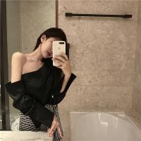 夏季女装韩版时尚斜肩不规则衬衫长袖上衣+格子绑带短裤两件套潮 黑色上衣 均码