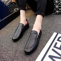 米乐猴 潮牌夏季2017新款男士豆豆鞋社会小伙韩版休闲潮鞋英伦懒人男鞋皮鞋