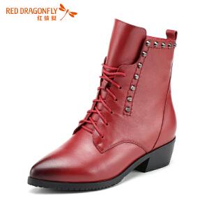 红蜻蜓女鞋秋冬皮鞋鞋子女女靴子加绒短靴WFC5203