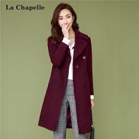 羊毛毛呢大衣女中长款妮子2018冬季新款韩版时尚酒红修身呢子外套
