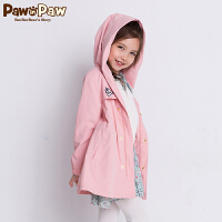 【2件3折 到手价:239】Pawinpaw卡通小熊童装秋女童连帽拉链中长款夹克外套