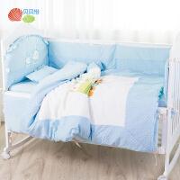 贝贝怡婴幼儿宝宝床品八件套新生儿纯棉寝具男女宝宝床上用品套件