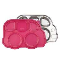 美国进口innobaby儿童不锈钢餐具宝宝餐盘可爱巴士造型分隔盘