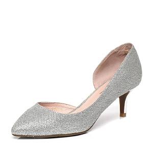 Belle/百丽春季专柜同款亮片布优雅细跟女凉鞋P9A1DAK6