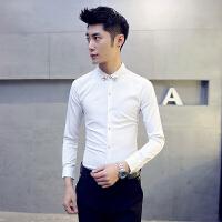 男士长袖衬衫2016秋装新款韩版修身型尖领衬衣发型师修身潮男寸衫