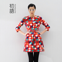 初语冬装新款女装显瘦圆领七分袖连衣裙 千格鸟印花 时尚女8442411062