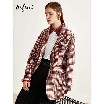 2件4折 伊芙丽2018冬装新款毛呢外套女羊毛复古格子双面呢大衣女
