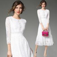 时尚连衣裙白色修身显高七分袖蕾丝长裙气质女装女士精品夏款新品