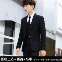 青少年西服套装男士修身韩版小西装学生休闲西装三件套结婚正装潮
